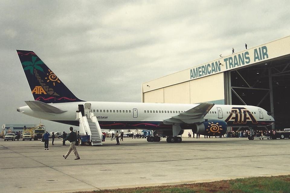 ATA Airlines Boeing 757 at the IND hangar