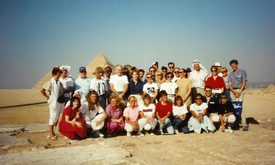 ATA Airlines flight crews in front of Egyptian pyramids